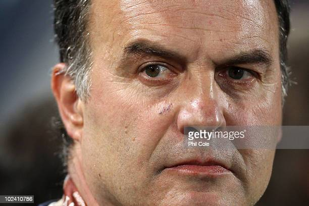 Marcelo Bielsa head coach of Chile looks on prior to the 2010 FIFA World Cup South Africa Group H match between Chile and Spain at Loftus Versfeld...