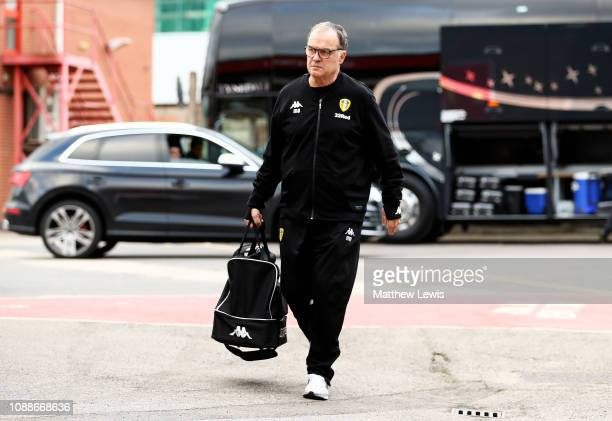 Marcelo Bielsa manager of Leeds United arrives ahead of the Sky Bet Championship match between Nottingham Forest and Leeds United at City Ground on...