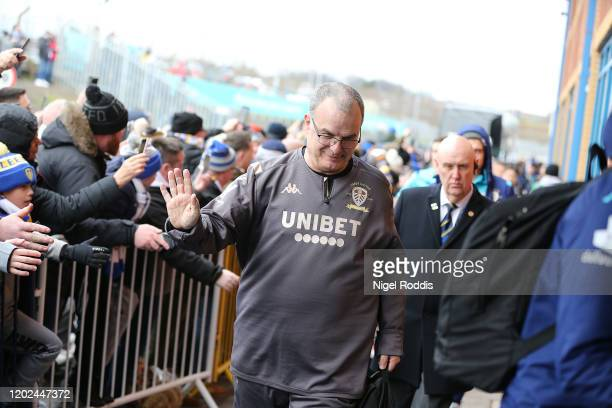 Marcelo Bielsa manager of Leeds United arrives ahead of the Sky Bet Championship match between Leeds United and Reading at Elland Road on February...