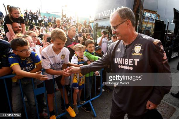 Marcelo Bielsa manager of Leeds United arrives prior to the Carabao Cup second round match between Leeds United and Stoke City at Elland Road on...