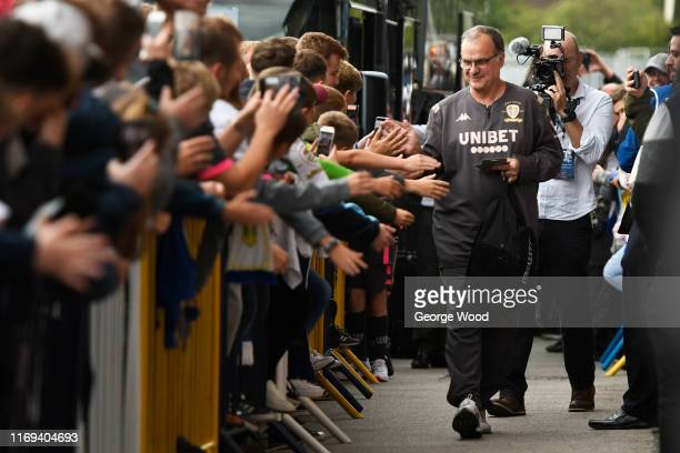 Marcelo Bielsa manager of Leeds United arrives prior to the Sky Bet Championship match between Leeds United and Brentford at Elland Road on August...