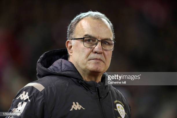 Marcelo Bielsa manager of Leeds United during the Sky Bet Championship match between Nottingham Forest and Leeds United at City Ground on February 08...