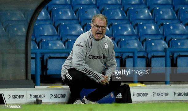 Marcelo Bielsa, Manager of Leeds United gives his team instructions during the Carabao Cup Second Round match between Leeds United and Hull City at...