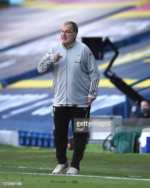 Marcelo Bielsa, Manager of Leeds United gives his team instructions during the Premier League match between Leeds United and Fulham at Elland Road on...