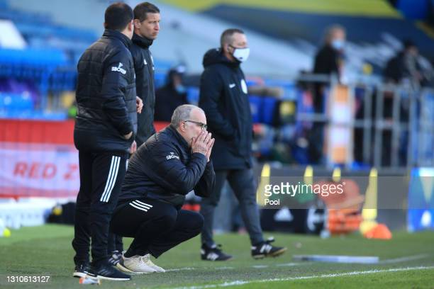 Marcelo Bielsa, Manager of Leeds United gives his team instructions during the Premier League match between Leeds United and Sheffield United at...