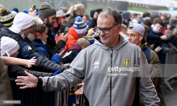 Marcelo Bielsa manager of Leeds United greets fans as he arrives at the stadium prior to the Sky Bet Championship match between Leeds United and...