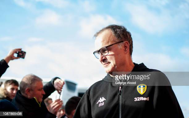 Marcelo Bielsa manager of Leeds United greets fans as he arrives at the stadium prior to the Sky Bet Championship match between Leeds United and Hull...