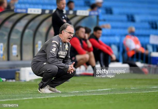 Marcelo Bielsa, Manager of Leeds United in action during the Sky Bet Championship match between Leeds United and Charlton Athletic at Elland Road on...