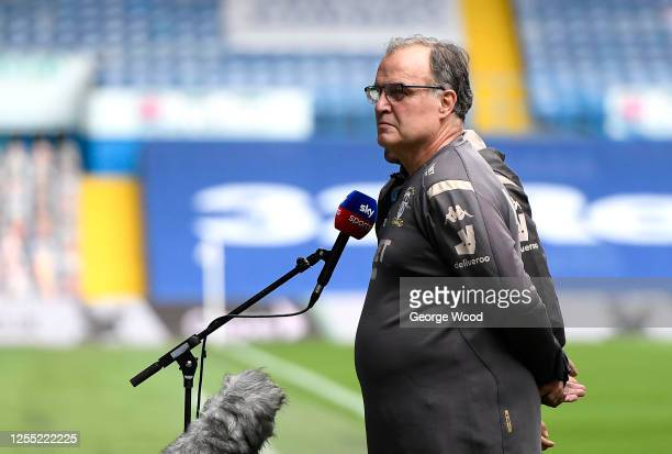 Marcelo Bielsa, Manager of Leeds United is interviewed by Sky Sports prior to the Sky Bet Championship match between Leeds United and Stoke City at...