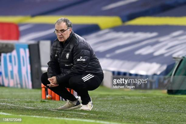 Marcelo Bielsa, Manager of Leeds United looks from inside his technical area during the Premier League match between Leeds United and Arsenal at...