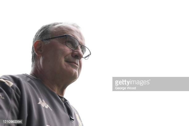 Marcelo Bielsa, manager of Leeds United looks on ahead of the Sky Bet Championship match between Leeds United and Huddersfield Town at Elland Road on...