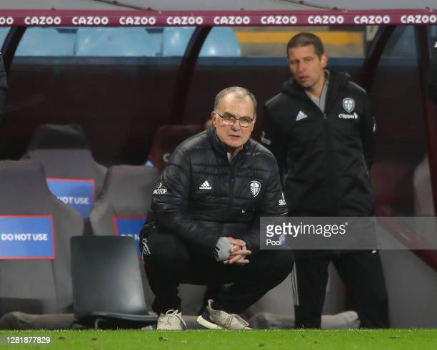 Marcelo Bielsa Manager of Leeds United looks on during the Premier League match between Aston Villa and Leeds United at Villa Park on October 23 2020...