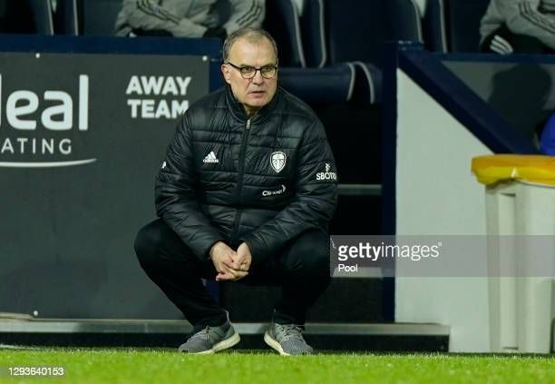 Marcelo Bielsa, Manager of Leeds United looks on during the Premier League match between West Bromwich Albion and Leeds United at The Hawthorns on...