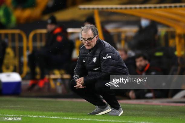 Marcelo Bielsa, Manager of Leeds United looks on during the Premier League match between Wolverhampton Wanderers and Leeds United at Molineux on...