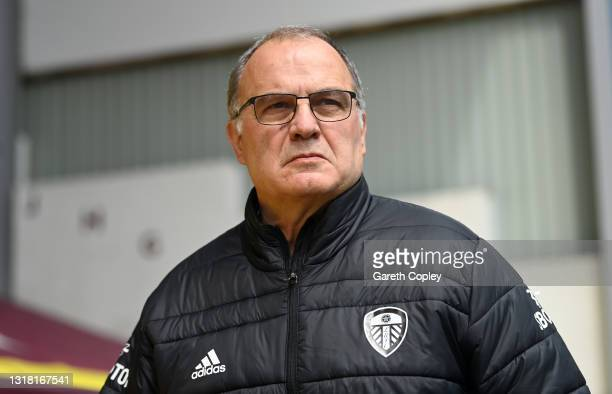 Marcelo Bielsa, Manager of Leeds United looks on during the Premier League match between Burnley and Leeds United at Turf Moor on May 15, 2021 in...