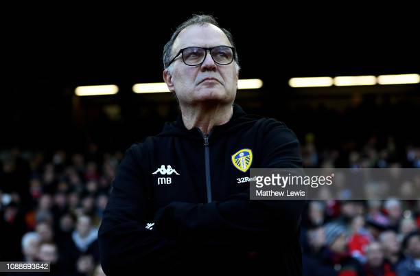 Marcelo Bielsa manager of Leeds United looks on during the Sky Bet Championship match between Nottingham Forest and Leeds United at City Ground on...
