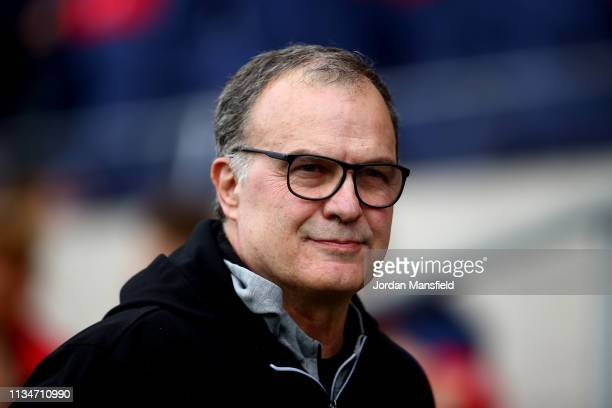 Marcelo Bielsa manager of Leeds United looks on during the Sky Bet Championship between Bristol City and Leeds United at Ashton Gate on March 09 2019...