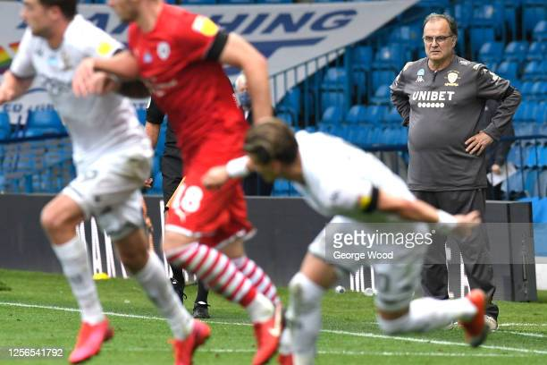 Marcelo Bielsa manager of Leeds United looks on during the Sky Bet Championship match between Leeds United and Barnsley at Elland Road on July 16...