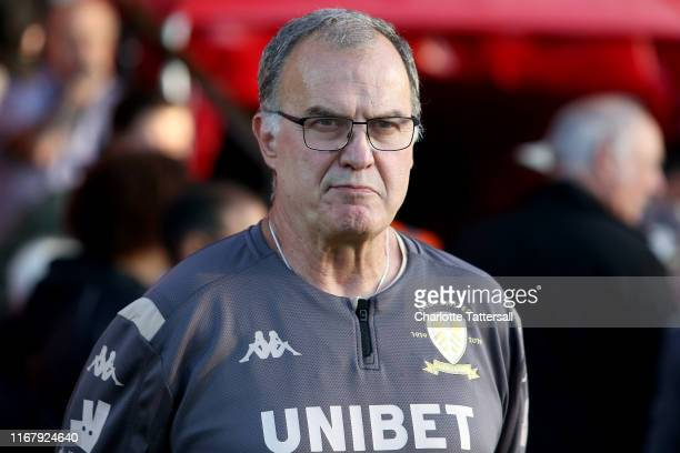 Marcelo Bielsa manager of Leeds United looks on prior to the Carabao Cup First Round match between Salford City and Leeds United at Moor Lane on...