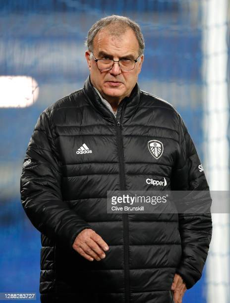 Marcelo Bielsa, Manager of Leeds United looks on prior to the Premier League match between Everton and Leeds United at Goodison Park on November 28,...