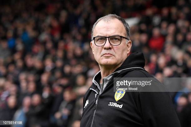 Marcelo Bielsa manager of Leeds United looks on prior to the Sky Bet Championship match between Sheffield United and Leeds United at Bramall Lane on...