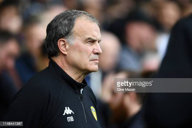 Marcelo Bielsa Manager of Leeds United looks on prior to the Sky Bet Championship Playoff semi final first leg match between Derby County and Leeds...