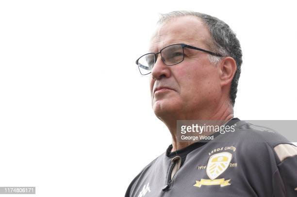 Marcelo Bielsa manager of Leeds United looks on prior to the Sky Bet Championship match between Barnsley and Leeds United at Oakwell Stadium on...
