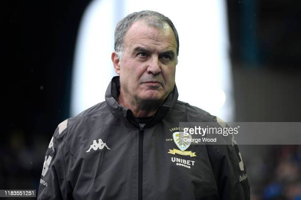 Marcelo Bielsa manager of Leeds United looks on prior to the Sky Bet Championship match between Sheffield Wednesday and Leeds United at Hillsborough...