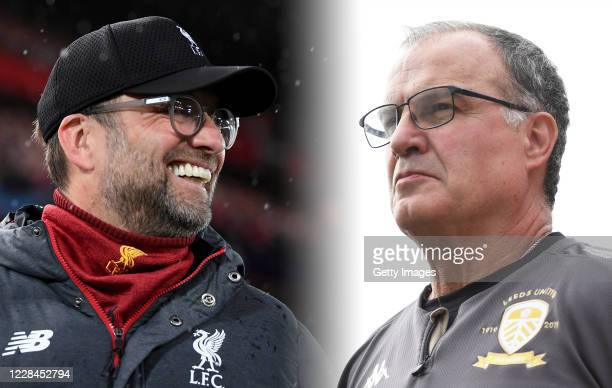 COMPOSITE OF IMAGES Image numbers 1211844295 1174806171 GRADIENT ADDED In this composite image a comparison has been made between Jurgen Klopp...