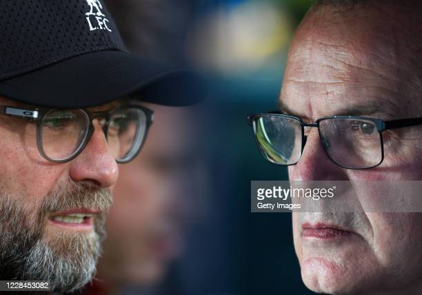 Marcelo Bielsa manager of Leeds United looks on prior to the Sky Bet Championship match between Leeds United and Derby County at Elland Road on...