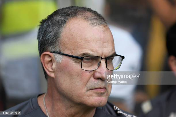 Marcelo Bielsa manager of Leeds United looks on prior to the Pre-Season Friendly between York City and Leeds United at Bootham Crescent on July 10,...