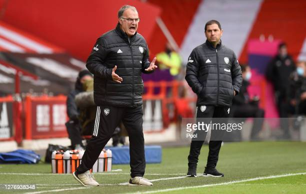 Marcelo Bielsa, Manager of Leeds United reacts during the Premier League match between Sheffield United and Leeds United at Bramall Lane on September...