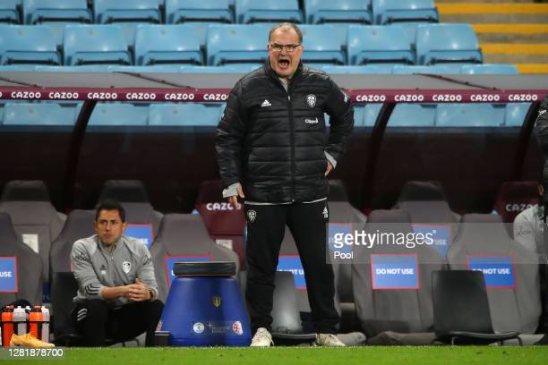 Marcelo Bielsa Manager of Leeds United reacts during the Premier League match between Aston Villa and Leeds United at Villa Park on October 23 2020...