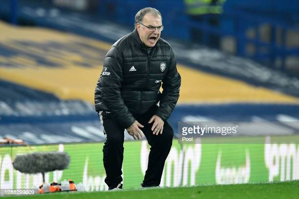 Marcelo Bielsa, Manager of Leeds United reacts during the Premier League match between Everton and Leeds United at Goodison Park on November 28, 2020...