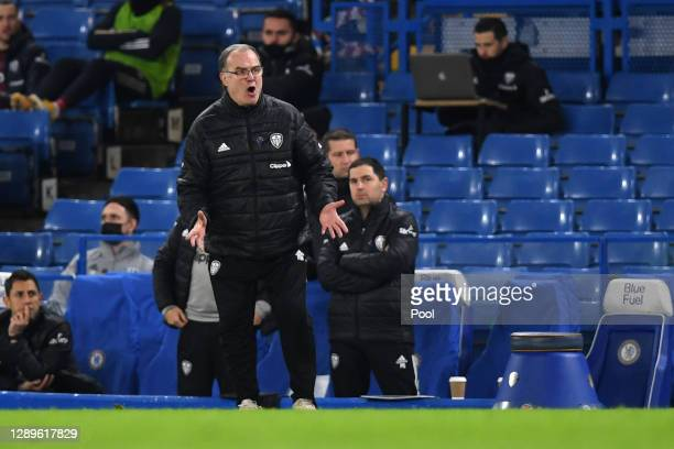 Marcelo Bielsa, Manager of Leeds United reacts during the Premier League match between Chelsea and Leeds United at Stamford Bridge on December 05,...