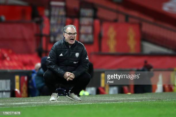 Marcelo Bielsa, Manager of Leeds United reacts during the Premier League match between Manchester United and Leeds United at Old Trafford on December...