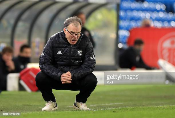 Marcelo Bielsa, Manager of Leeds United reacts during the Premier League match between Leeds United and Southampton at Elland Road on February 23,...