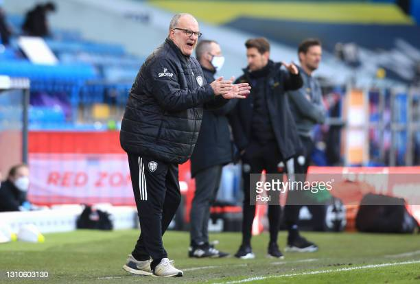 Marcelo Bielsa, Manager of Leeds United reacts during the Premier League match between Leeds United and Sheffield United at Elland Road on April 03,...