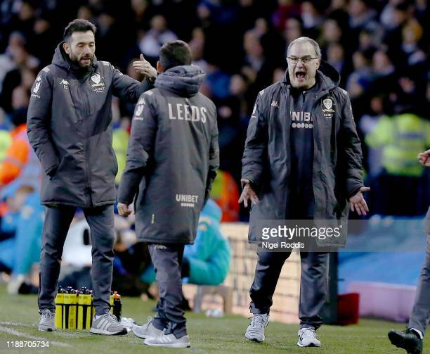Marcelo Bielsa manager of Leeds United reacts during the Sky Bet Championship match between Leeds United and Cardiff City at Elland Road on December...