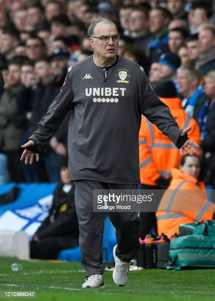 Marcelo Bielsa, manager of Leeds United reacts during the Sky Bet Championship match between Leeds United and Huddersfield Town at Elland Road on...