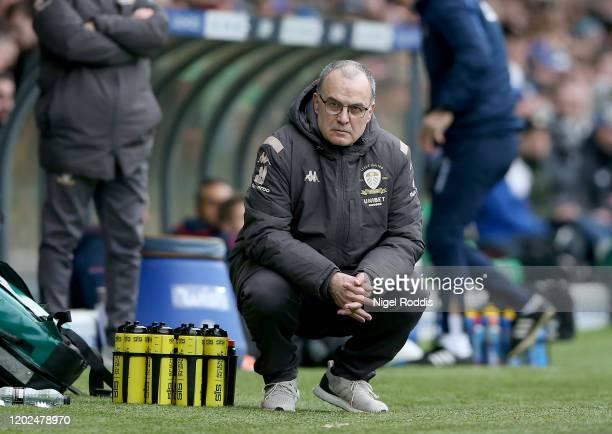 Marcelo Bielsa manager of Leeds United squats during the Sky Bet Championship match between Leeds United and Reading at Elland Road on February 22,...