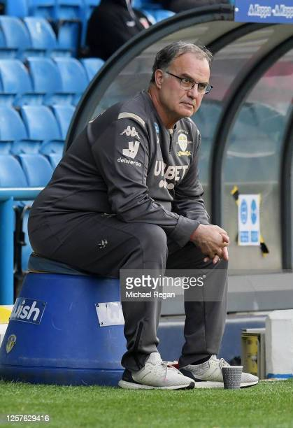 Marcelo Bielsa, Manager of Leeds United watches the play during the Sky Bet Championship match between Leeds United and Charlton Athletic at Elland...
