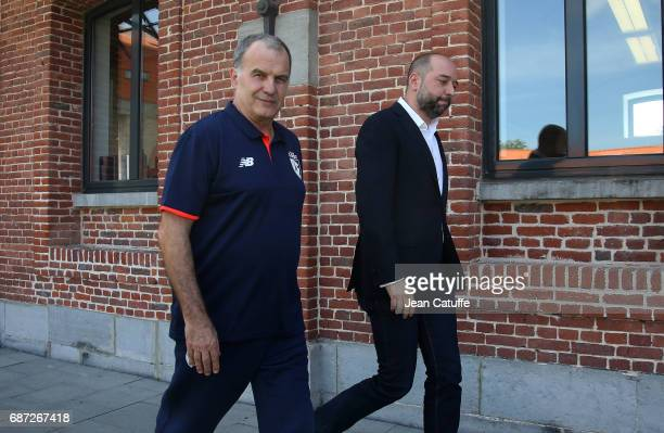Marcelo Bielsa of Argentina is introduced as the new head coach of Lille OSC by the owner of Lille OSC Gerard Lopez during a press conference at...
