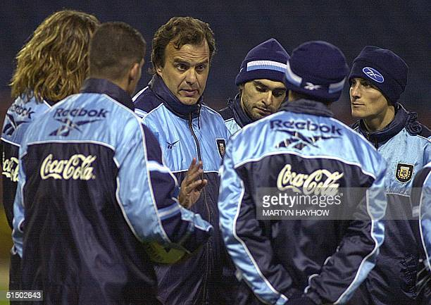 Marcelo Bielsa the Argentina football coach talks to his squad at Wembley stadium 22 February 2000 prior to Wednesday night's International match...