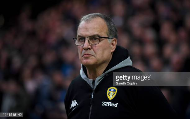 Marcelo Bielsa the Leeds United manager during the Sky Bet Championship match between Preston North End and Leeds United at Deepdale on April 09 2019...