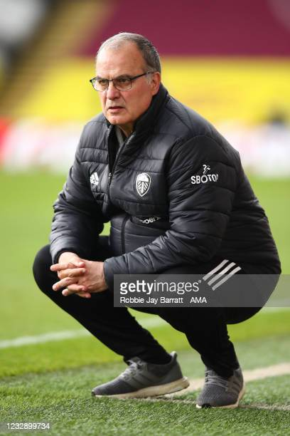 Marcelo Bielsa the manager / head coach of Leeds United during the Premier League match between Burnley and Leeds United at Turf Moor on May 15, 2021...