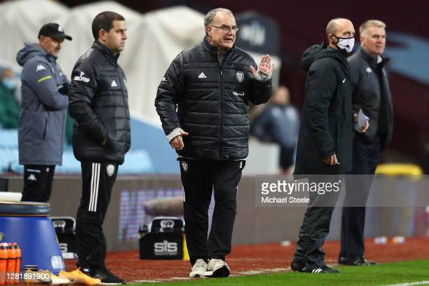 Marcelo Bielsa the manager of Leeds united issues instructions during the Premier League match between Aston Villa and Leeds United at Villa Park on...