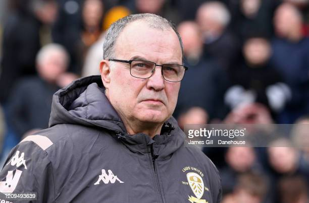 Marcelo Bielsa the manager of Leeds United look on during the Sky Bet Championship match between Hull City and Leeds United at KCOM Stadium on...