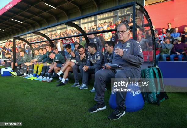 Marcelo Bielsa the manager of Leeds United looks on during the Carabao Cup First Round match between Salford City and Leeds United at Moor Lane on...
