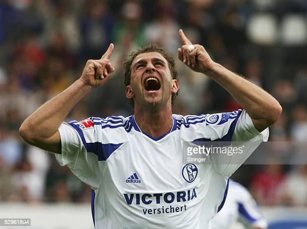 Marcelo Bordon of schalke celebrates his 21 during the Bundesliga match between SC Freiburg and FC Schalke 04 at the badenova Stadium on May 21 2005...